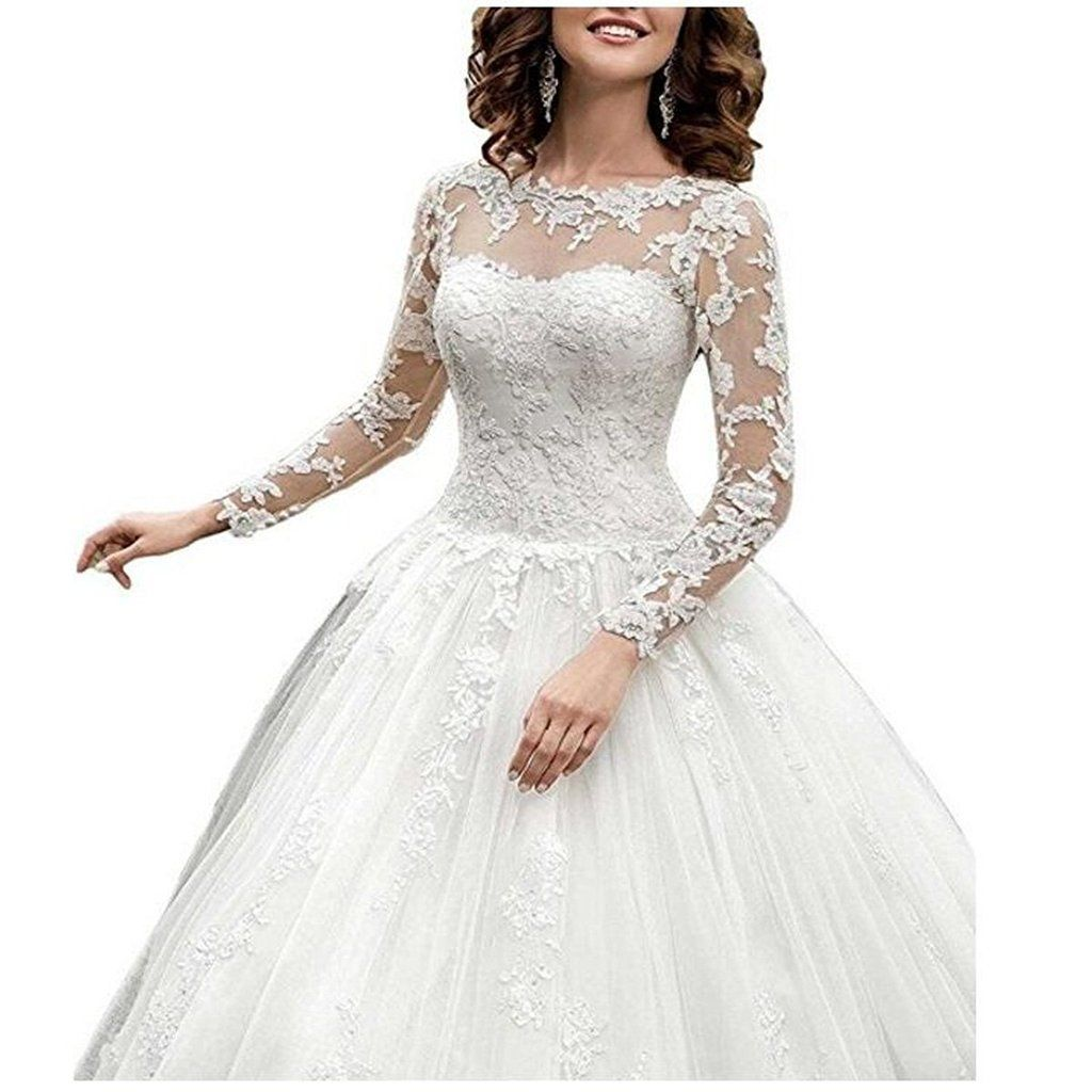 Lafee bridal simple aline long sleeves wedding dresses elegant lace