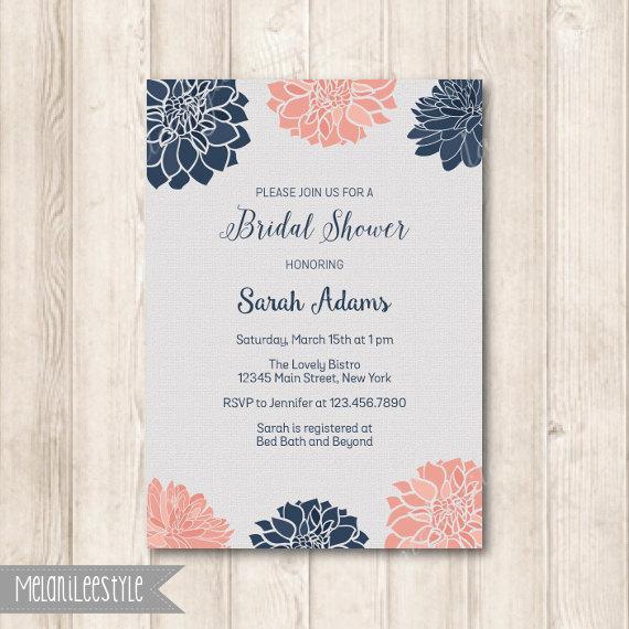 bdca5b5aa19a NAVY AND BLUSH Dahlia Floral Bridal Shower Invitation
