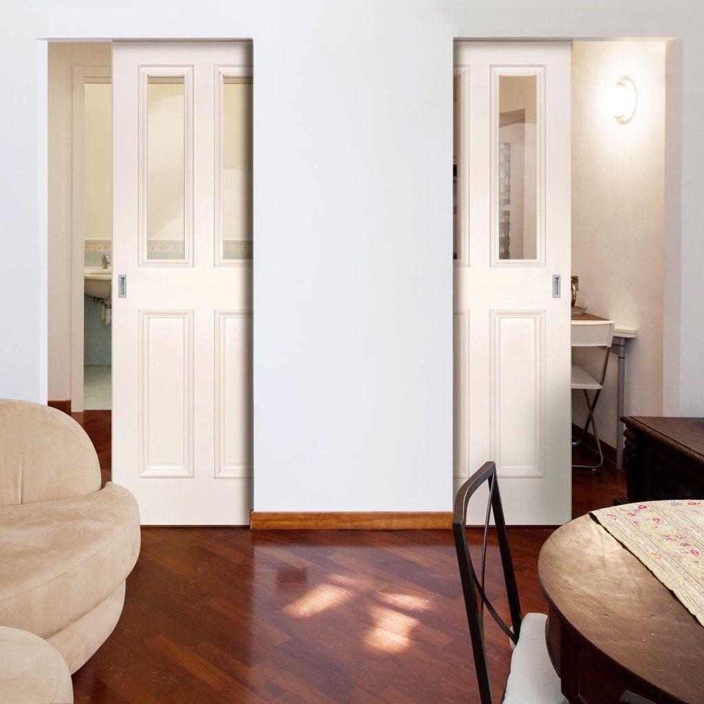 Deanta Unilateral Pocket Rochester Clear Glazed White Primed Door Pocketdoors Unilateraldoor Oakdoors Glazeddoors Interna In 2020 Pocket Doors Doors Glazed Door