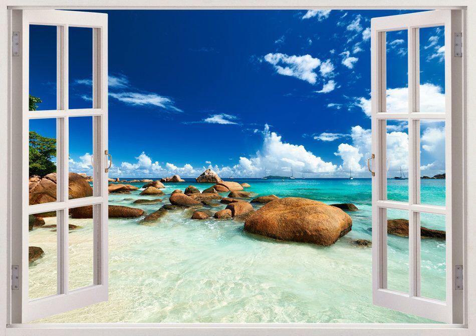 Colorful Beach Wall Art 3d Window Blue Beach Wall Decal Romantic