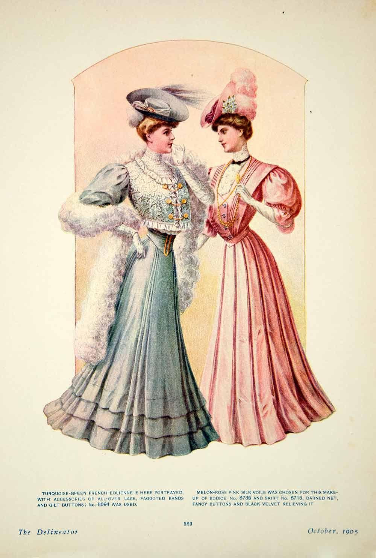 printable edwardian | 1905 Color Print Edwardian Women