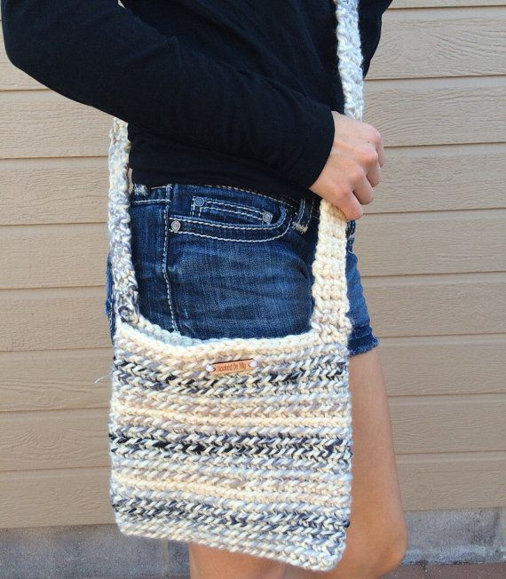 The Blue Oasis Crochet Crossbody Bag / Messenger by HookedOnTilly handmade DIY bag etsy fashion blue
