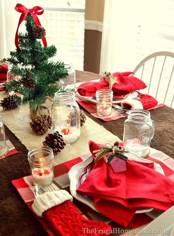 Natural and woodsy themed Dollar General Christmas tablescape - dollar general christmas decorations