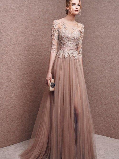 långa klänningar med ärm