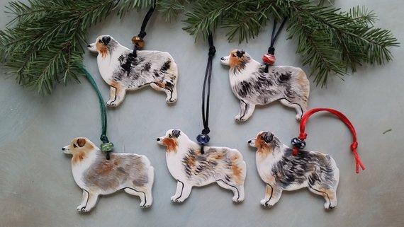Australian Shepherd Christmas Ornament.Australian Shepherd Christmas Ornament Blue Merle Hand