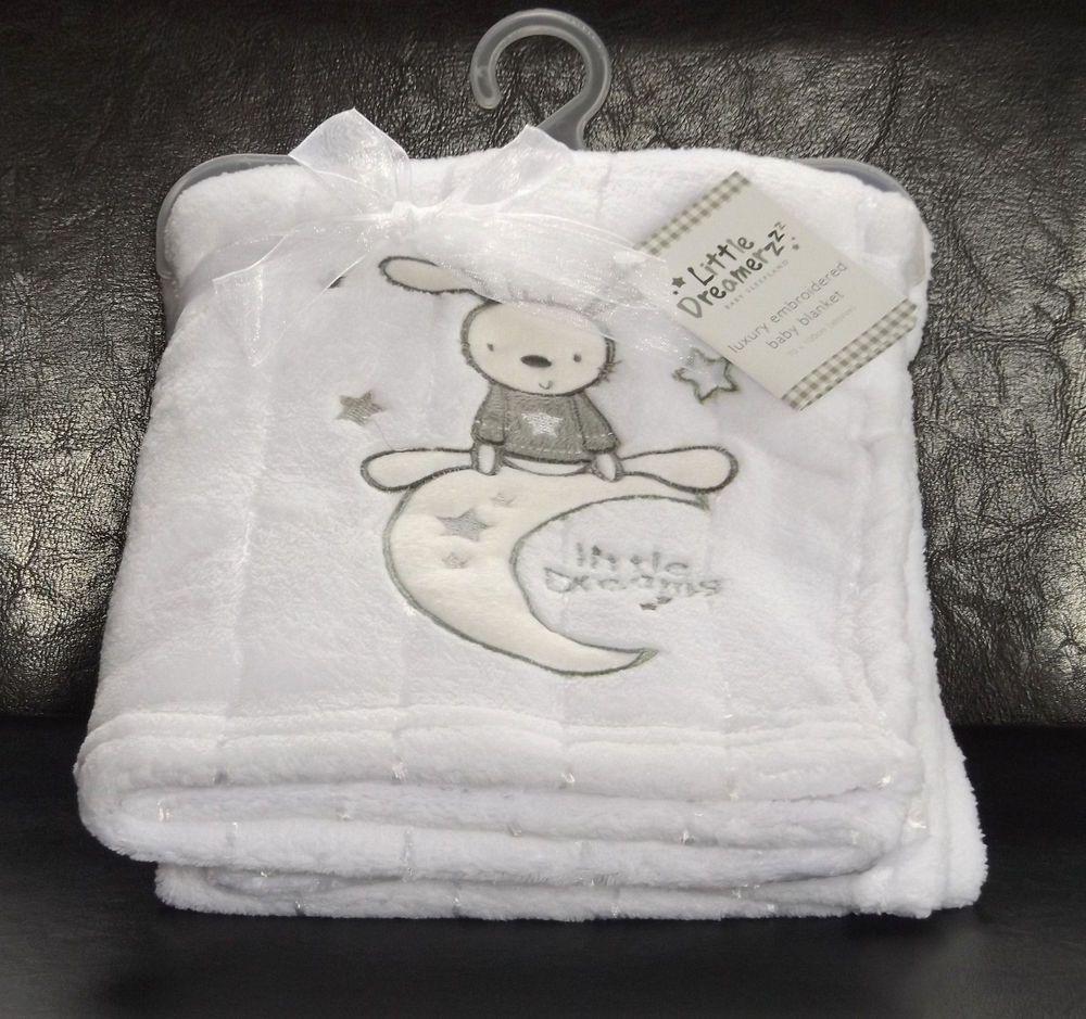 Baby Fleece Blanket Luxury Embroidered Bunny Rabbit White 70x100cm New