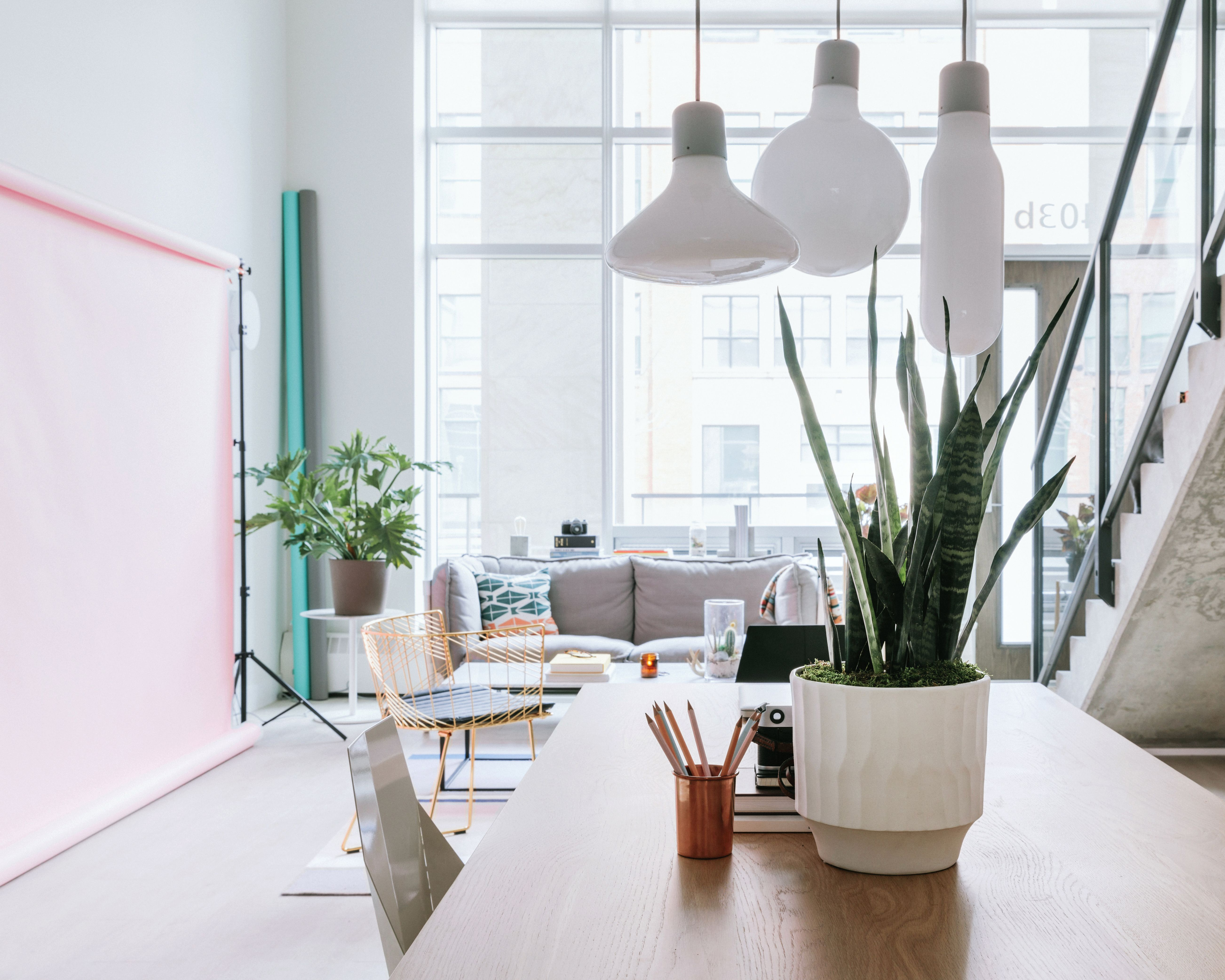 Minimal & pastel perfection in a lovely live work loft home