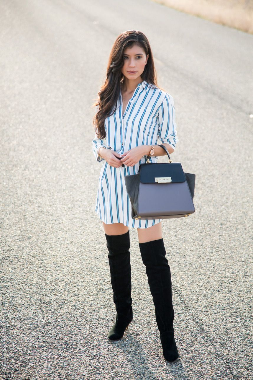 b738102ffd Shirt Dress and Thigh High Boots - Visit Stylishlyme.com for more outfit  inspiration and style tips