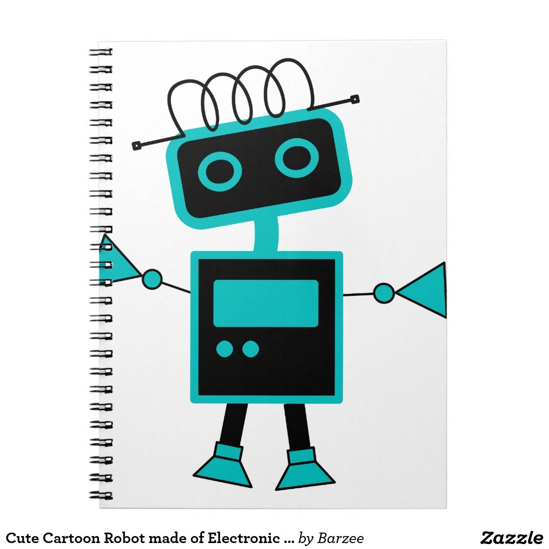 Cute Cartoon Robot Made Of Electronic Symbols Notebook For The