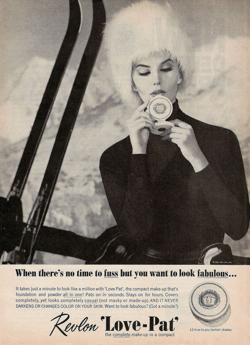 snowbunnychic Doubles as an acceptable glide wax in a pinch. Revlon ad, 1962.