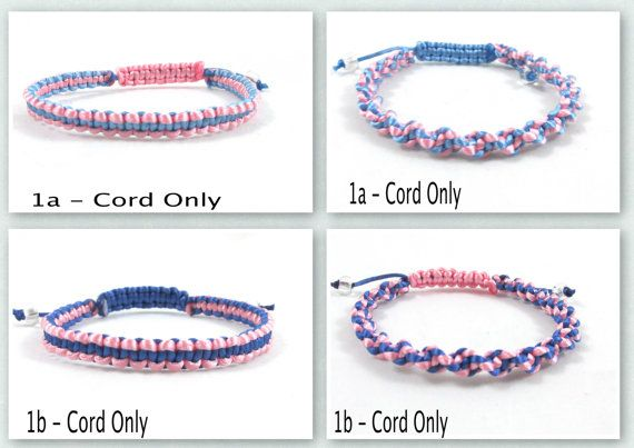 Pink and Blue Awareness Bracelet, Macrame, Custom, Loss of Infant, Infertility, SIDS, Sudden Infant Death Syndrome, Male Breast Cancer