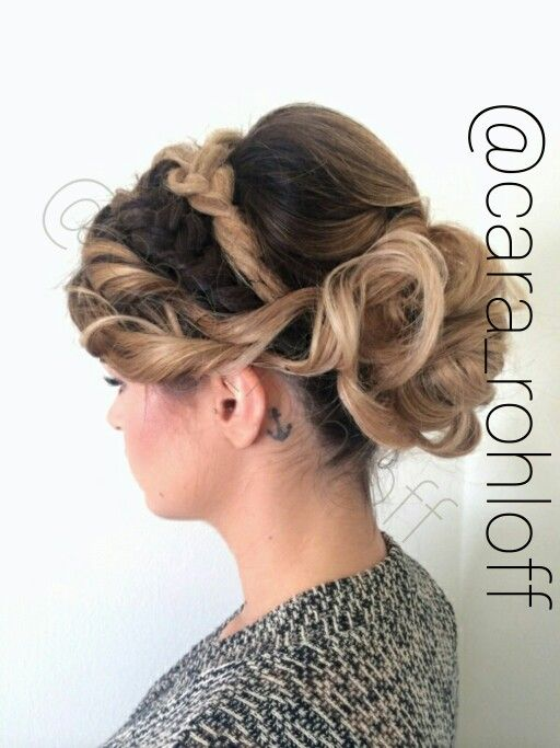 Beautiful crown braid adds interest to this soft updo