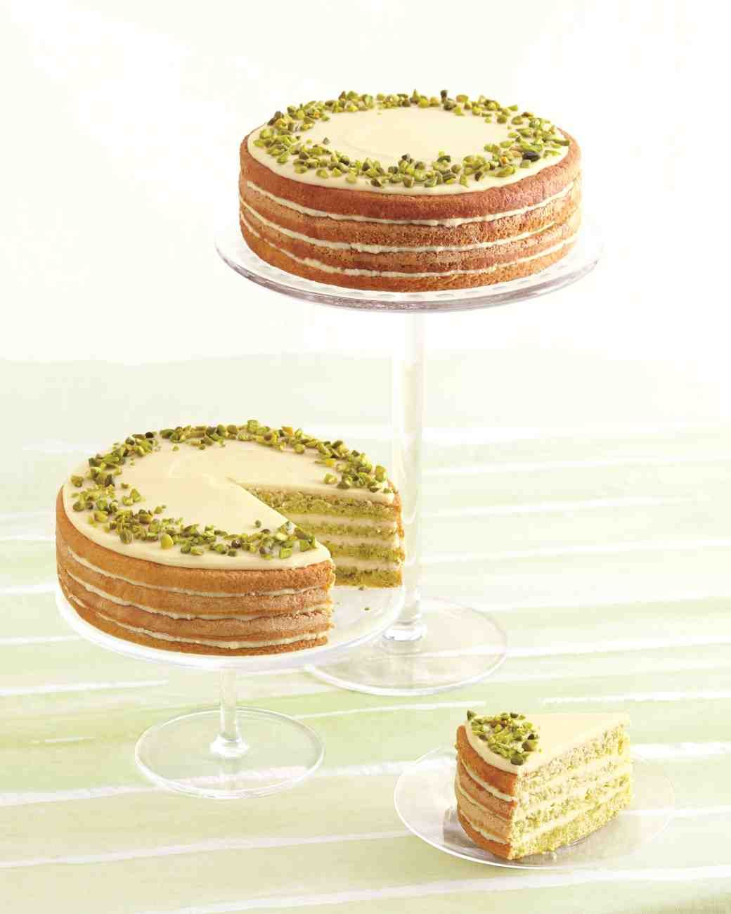 Sicilian-Pistachio Cake with Lemon Syrup and White-Chocolate Ganache ...