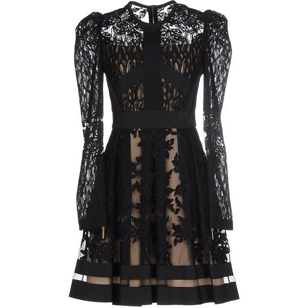 Elie Saab Short Dress ($2,560) ❤ liked on Polyvore featuring dresses, black, short lace dress, zip dress, elie saab, elie saab dresses and short dresses