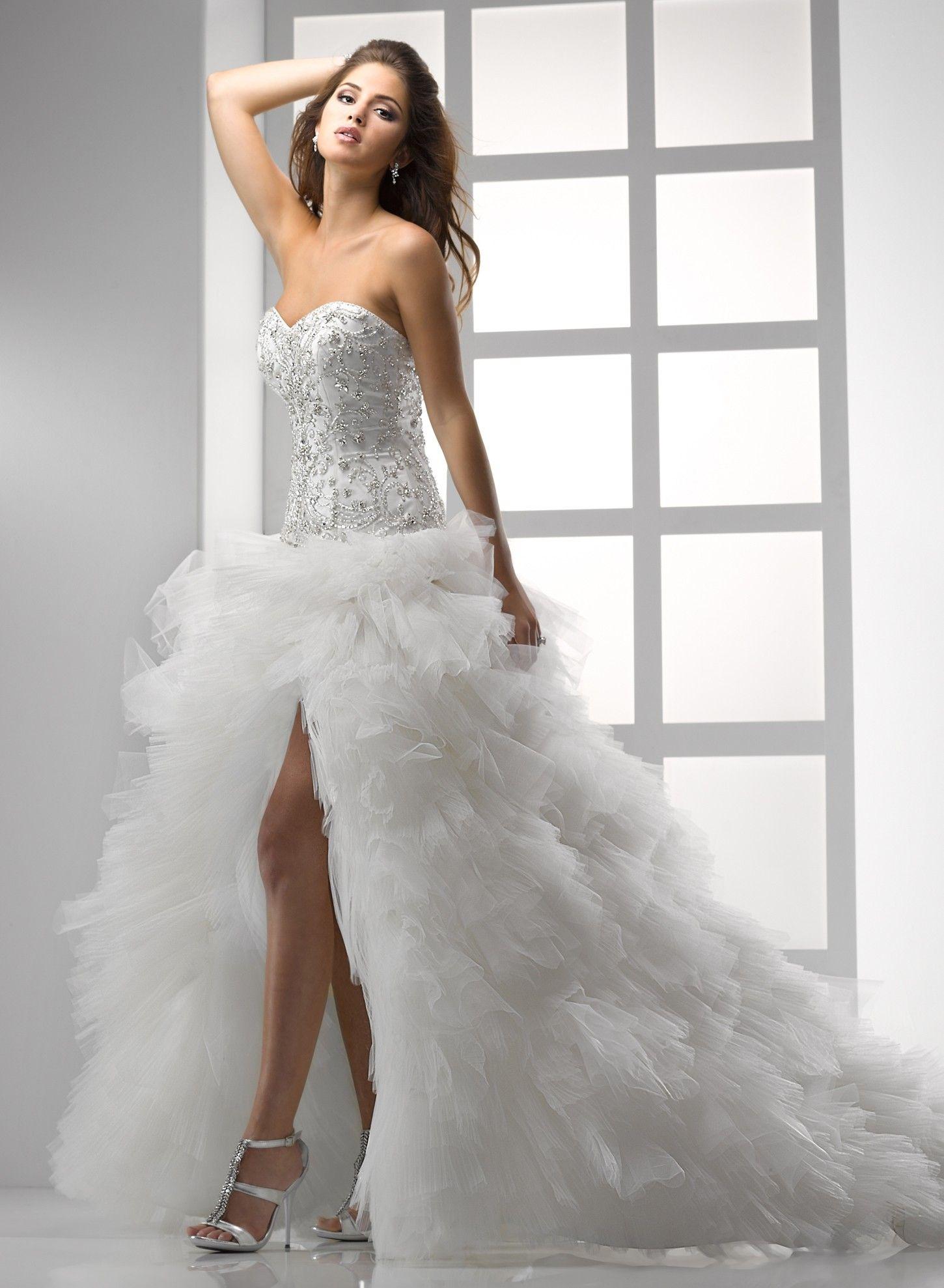 Cheap high low wedding dresses  TULLE HIGHSLIT BALL GOWN SWEETHEART NECKLINE WEDDING DRESS  Dream
