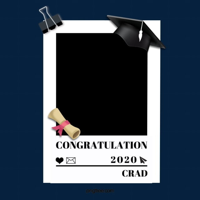 Black And White Simple Cartoon Graduation Border, Black ...