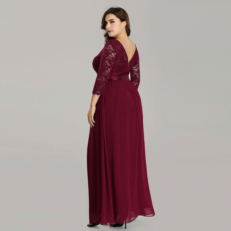 UK Ever-Pretty Plus Size Elegant Lace Long Sleeve Evening Party Dress Prom Gowns