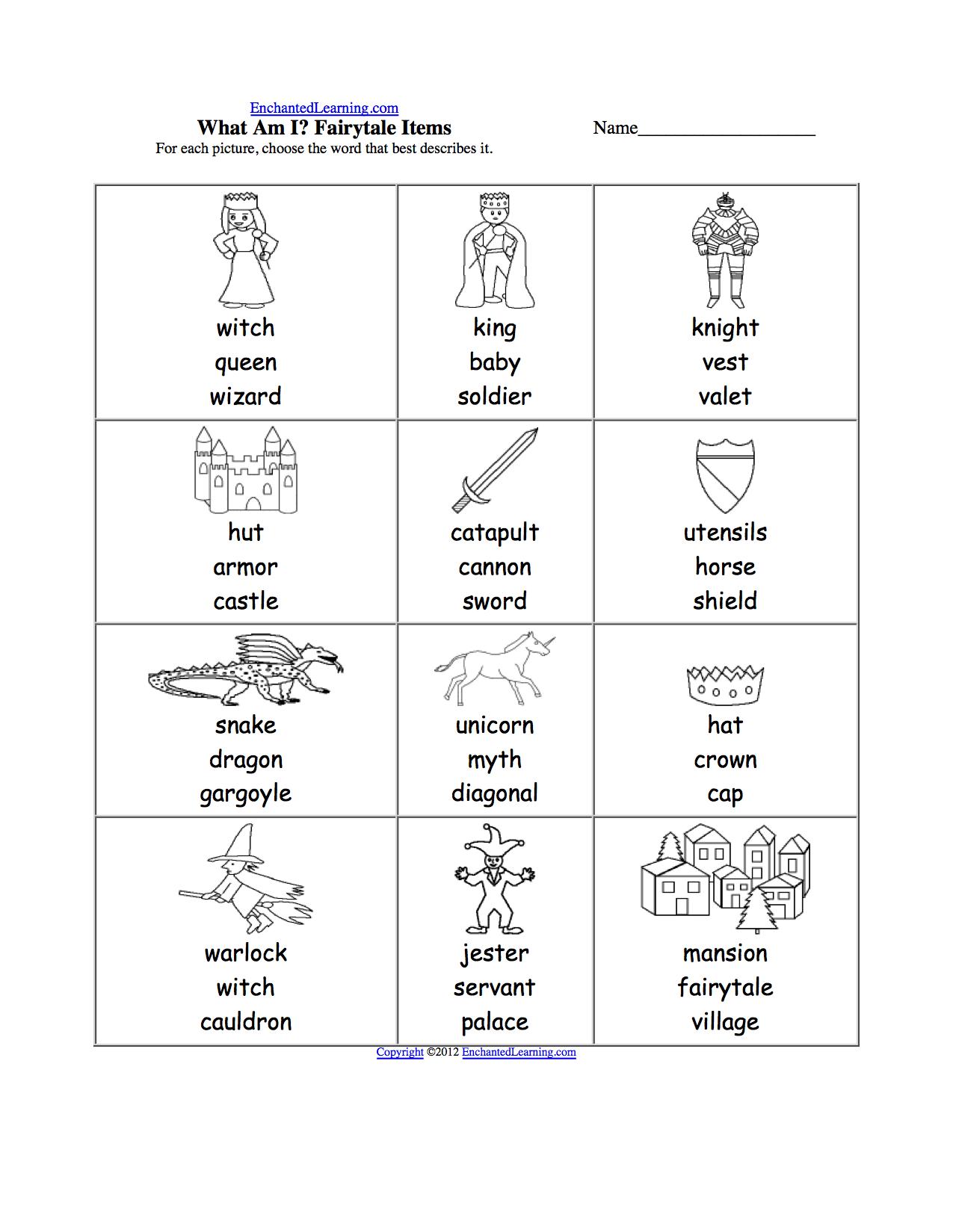 What Am I Worksheet Printouts Enchantedlearning Com Fairy Tales Spelling Worksheets Worksheets
