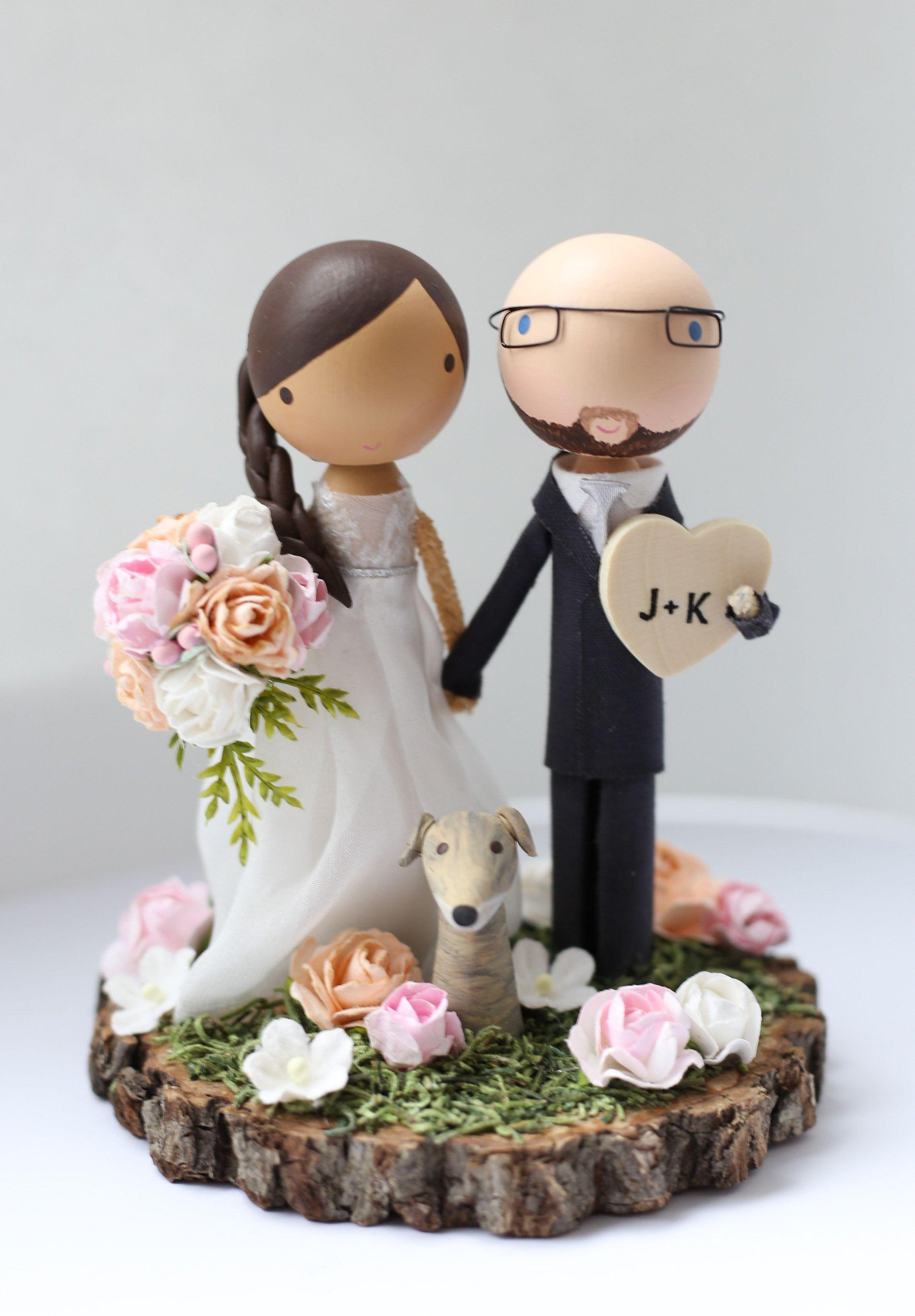 custom wedding cake topper wood slab base Etsy Custom