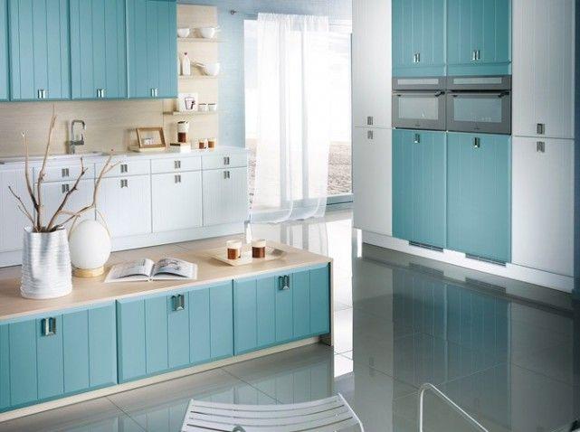 Cuisine bleu et blanc : Couleur cuisine : Pinterest : Bleu, Cuisines et Couleur cuisine