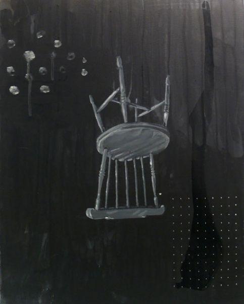 Upsidedown Chair, No Banana (2013) Acrylic, Varnish, Pencil on canvas http://www.brucelovelock.co.uk