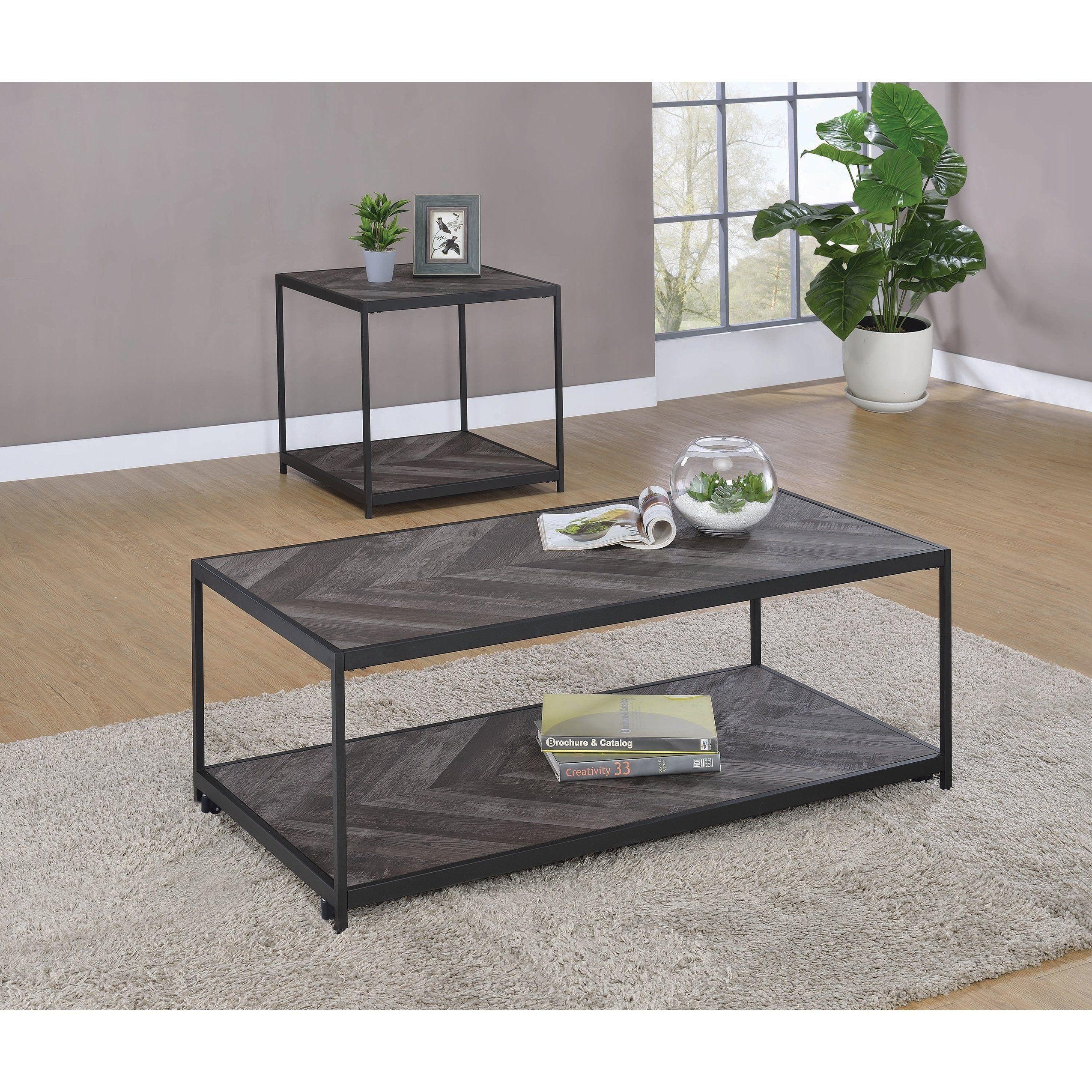 Rustic Grey Herringbone Square End Table Black Coffee Table Living Room Table Sets Living Room Table [ 2550 x 2550 Pixel ]