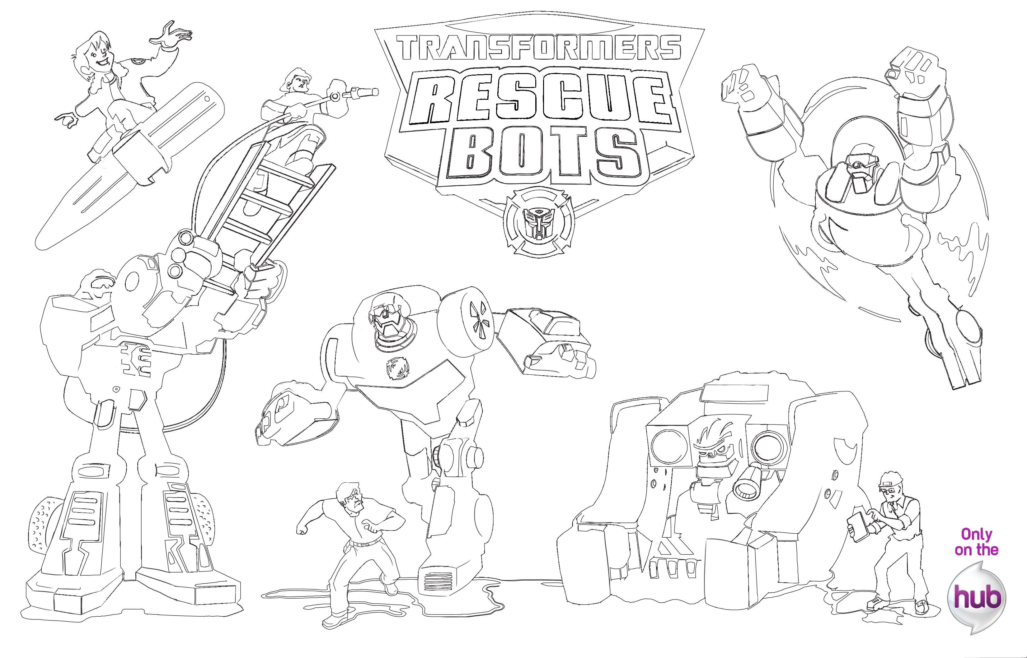 Completo Rescue Bots Para Colorir Desenho