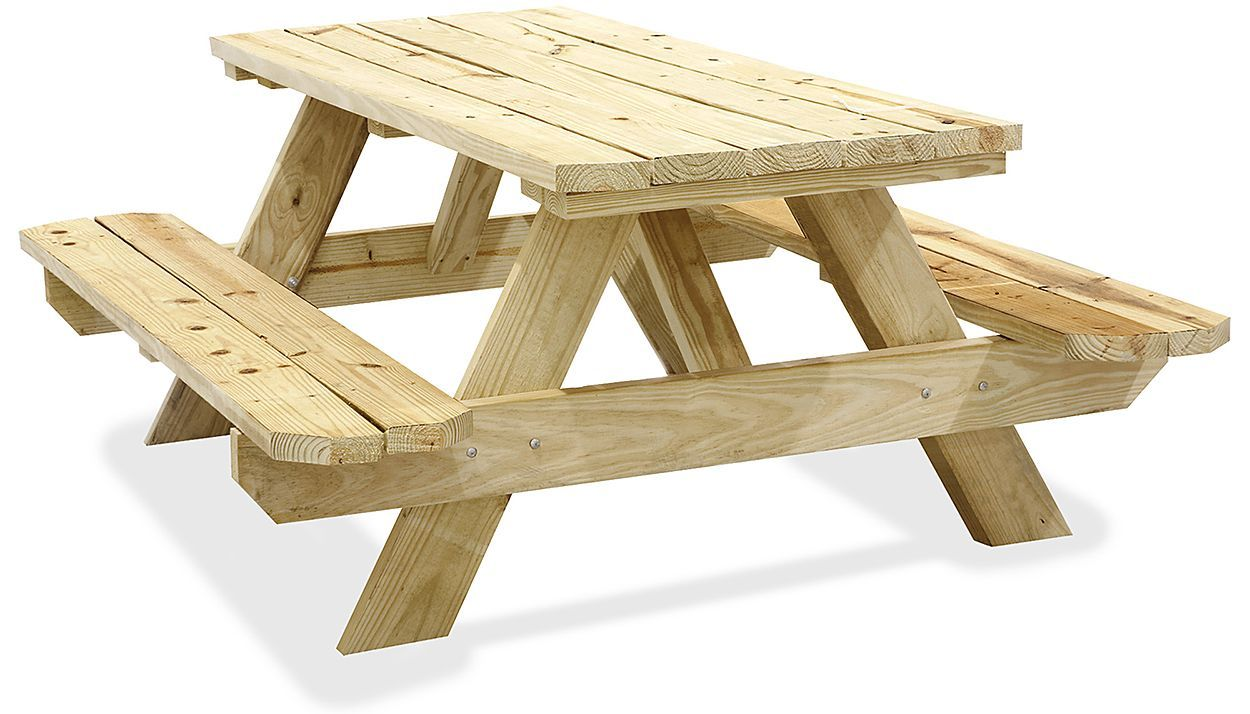 Wood Picnic Tables Wooden Picnic Tables In Stock Uline Wooden