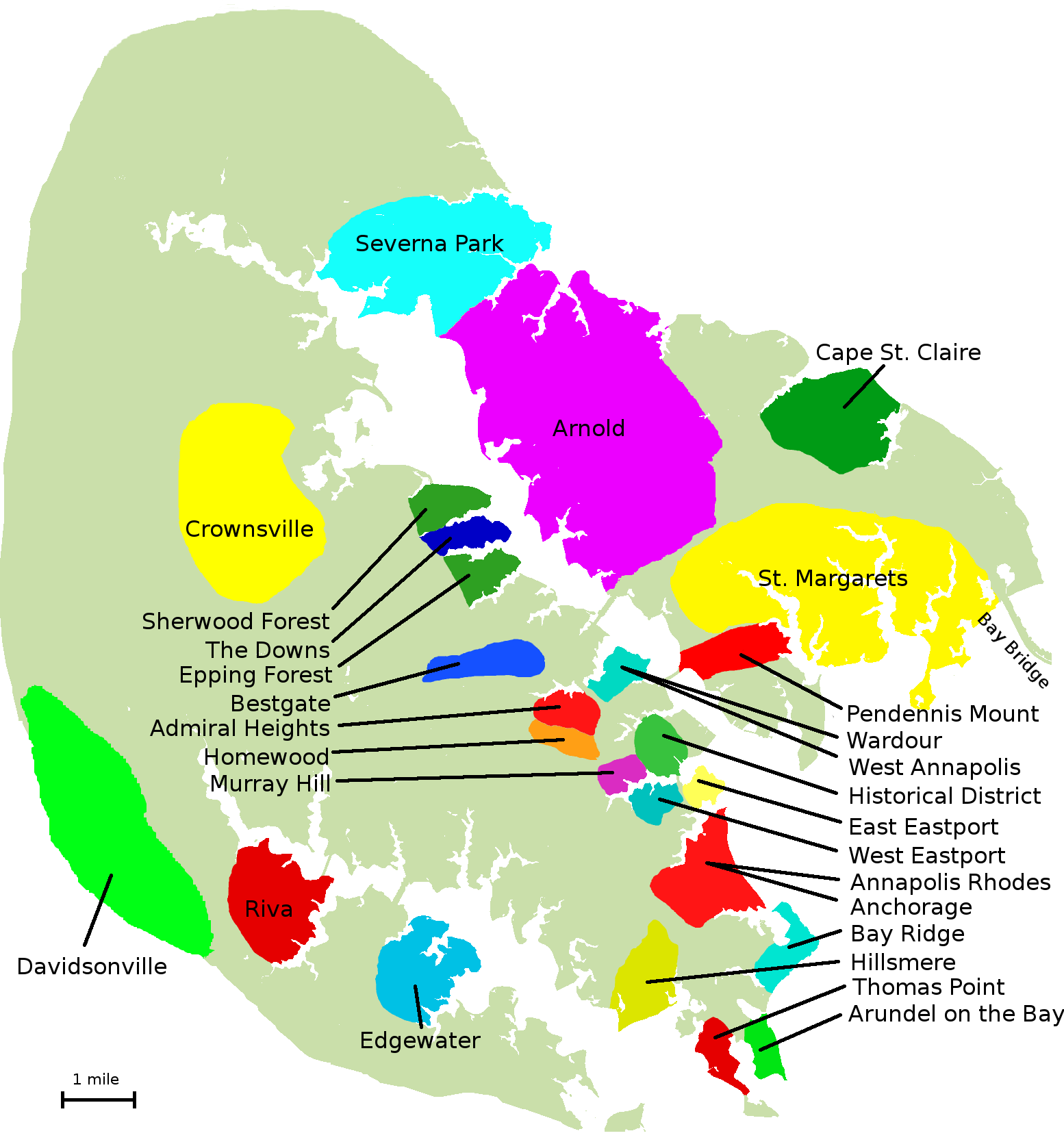 Map Of All The Neighborhoods In Annapolis Annapolis Culture - Anápolis map