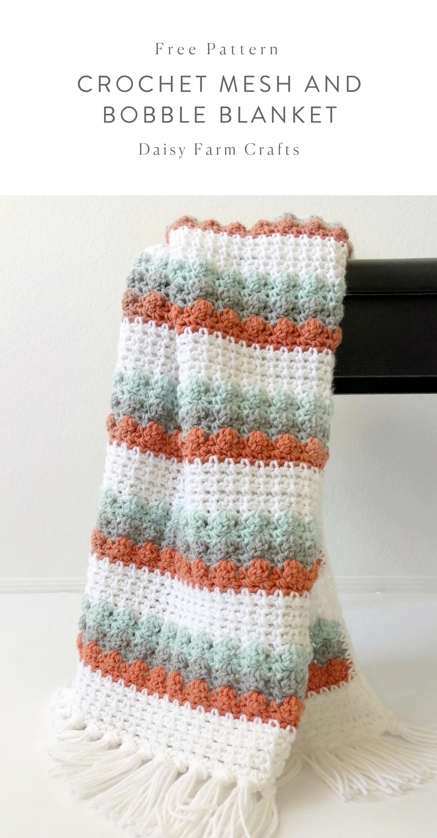 Free Pattern - Crochet Mesh and Bobble Blanket #crochet | Crochet ...
