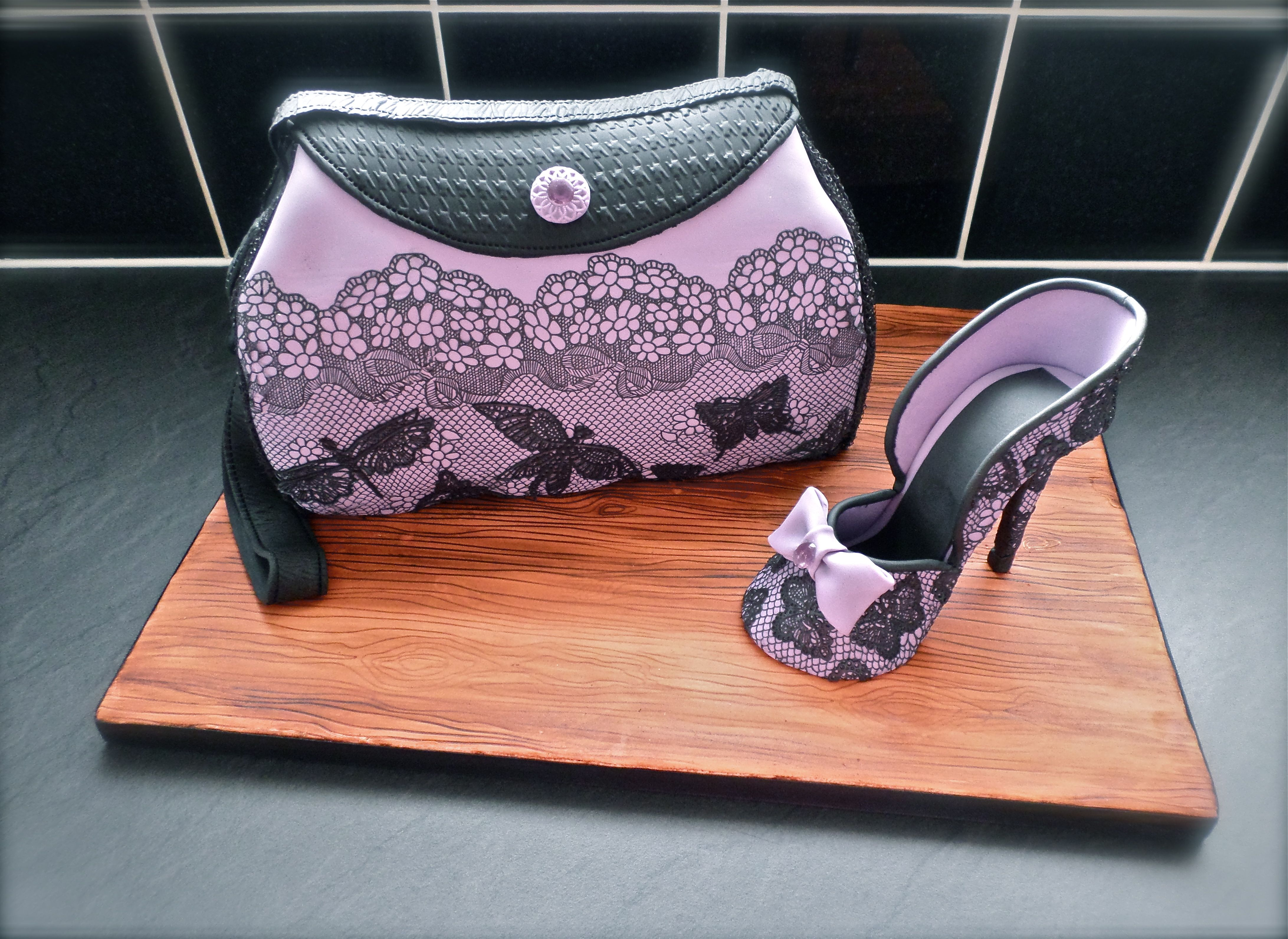 Birthday Cakes Lace Hand Bag And Shoe Cake Birthday Cakes