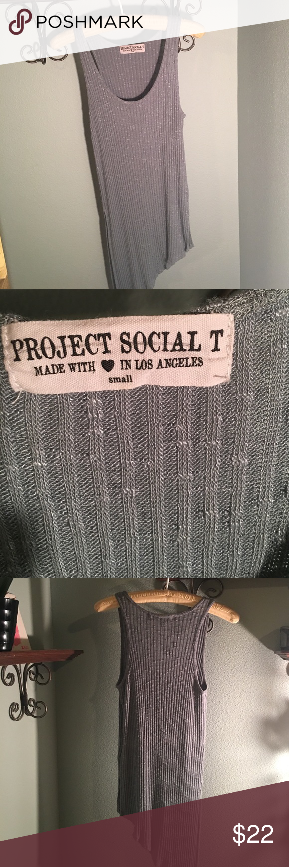 """""""Project Social T"""" Blouse Never worn! Size small. Shoulder to hem 25""""& 33"""". & armpit to armpit 15"""" Project Social T Tops Blouses"""