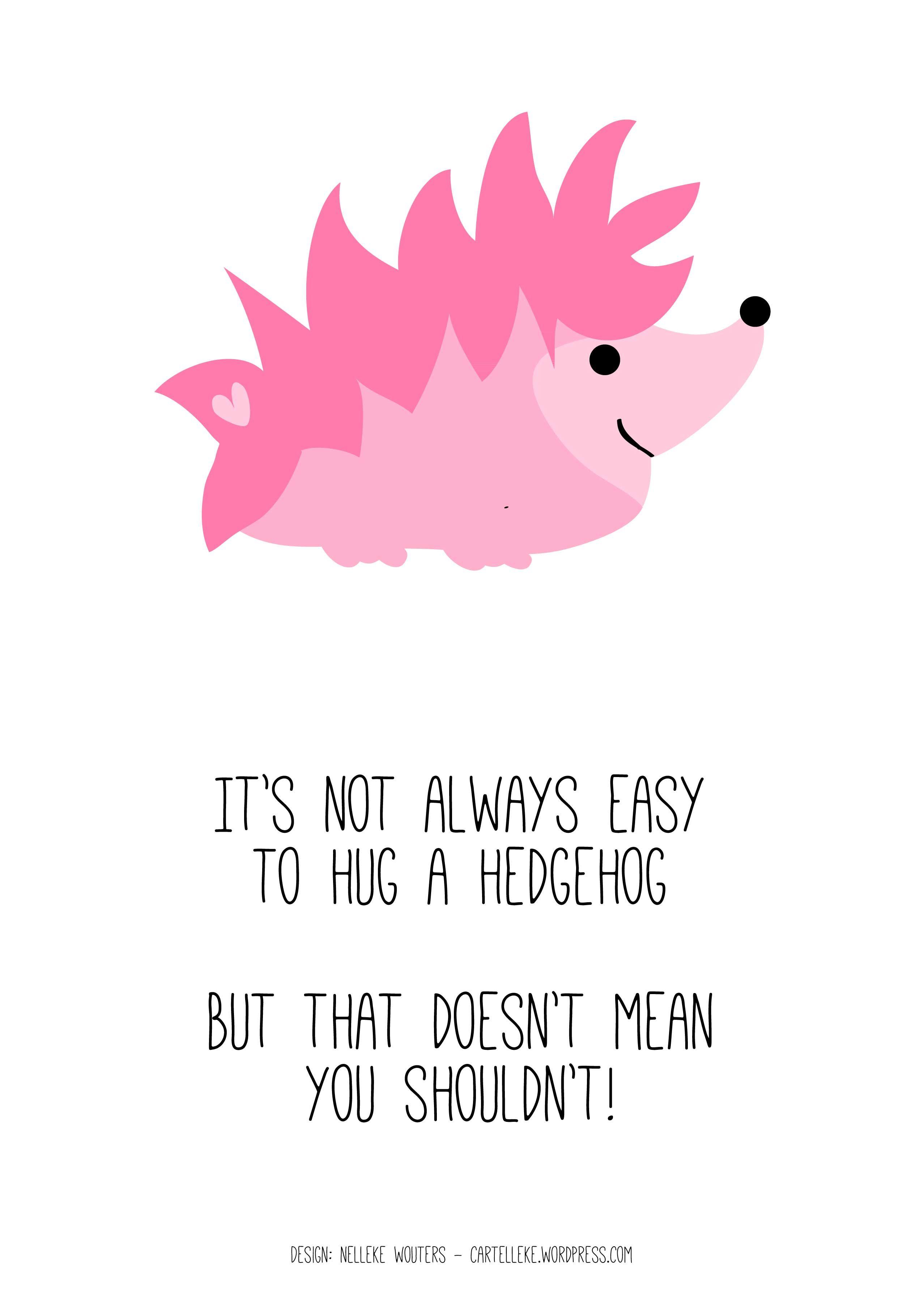 Hug A Hedgehog Love Quote Nelleke Wouters Cartelleke