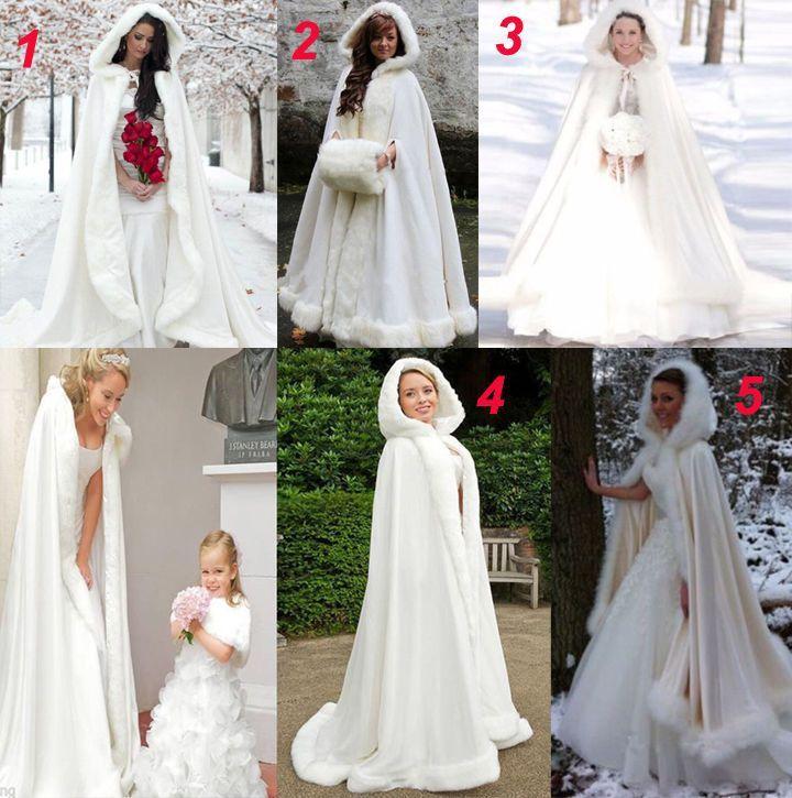 2884af8bb22ee Long Winter Bridal Cape Satin With Faux Fur Trim Princess Hooded Wedding  Cloak