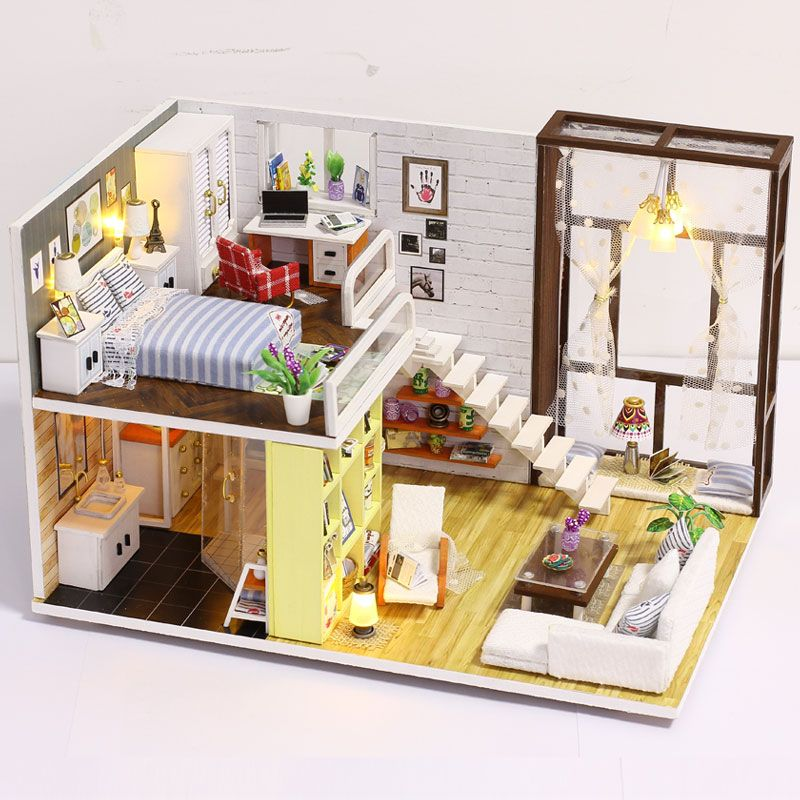 Tiny Miniature of Loft Home DIY Kit. New Doll House Toy