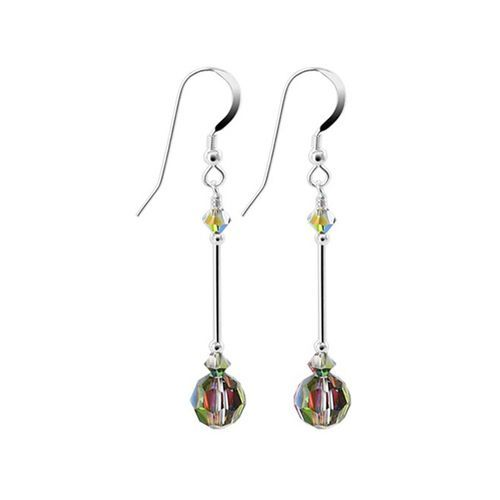 925 Sterling Silver Made with Swarovski Elements Vitrail Medium Crystal Handmade Dangle Earrings #SCER591