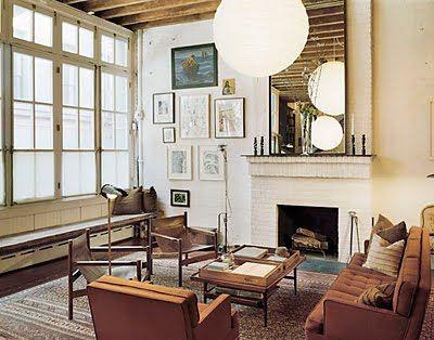 Diana Kellogg vintage rustic industrial modern loft living room