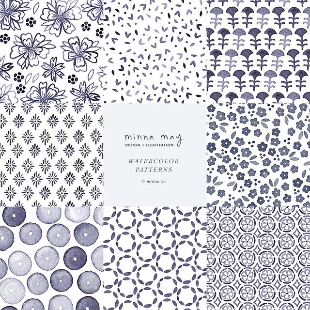 MINNA MAY design & illustration / Watercolor patterns
