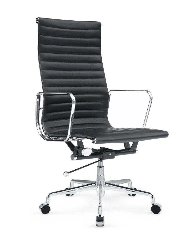 Togo High Back Black Leather Office Chair Contemporary Furniture Warehouse