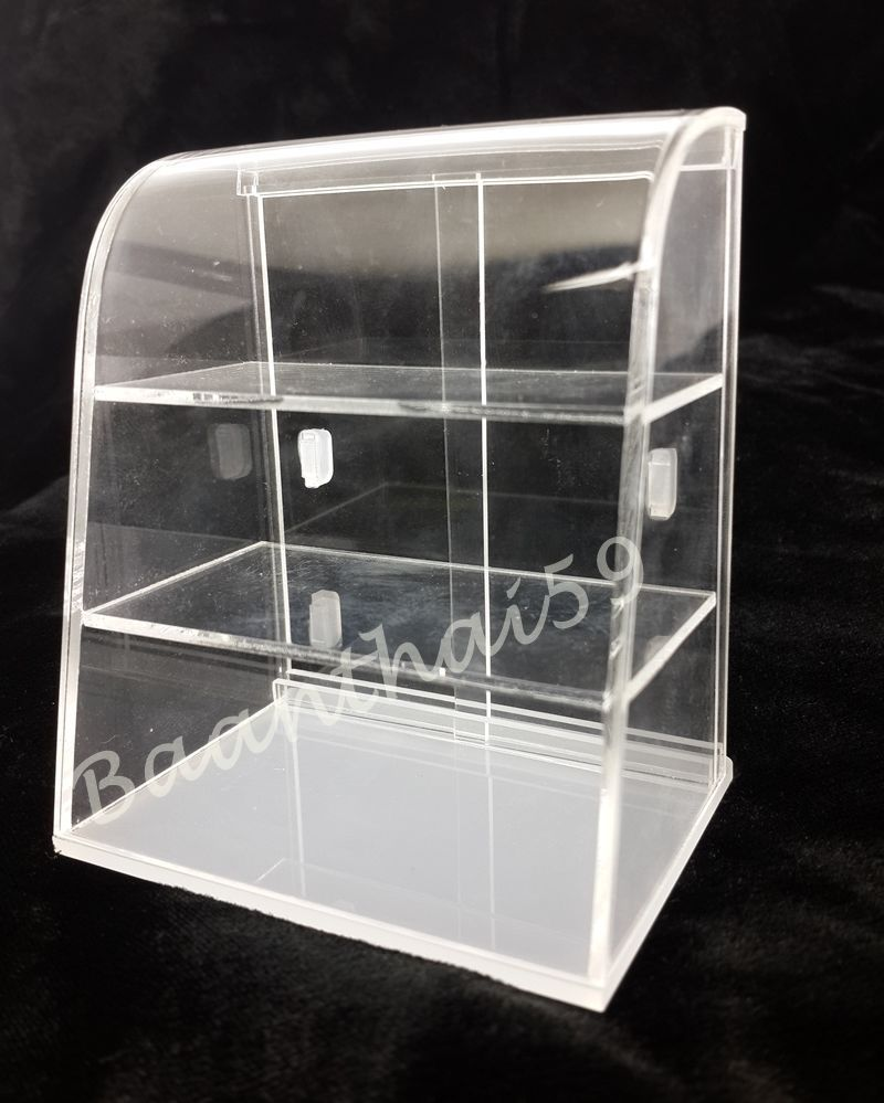 2//3//4 Tier Clear Acrylic Bakery Display Stand Cabinet Counter Food Pastry Case