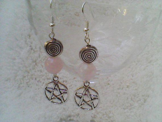 Rose Quartz Silver Spiral Pentagram by SpeakingofWitchWands, $9.95 US / £6.11 UK