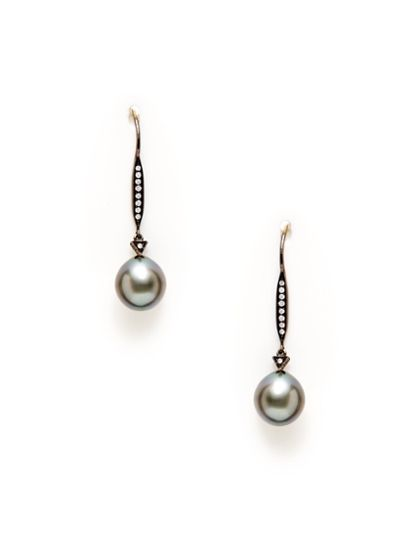 TARA PEARLS - Black Tahitian Pearl & Diamond Drop Earrings