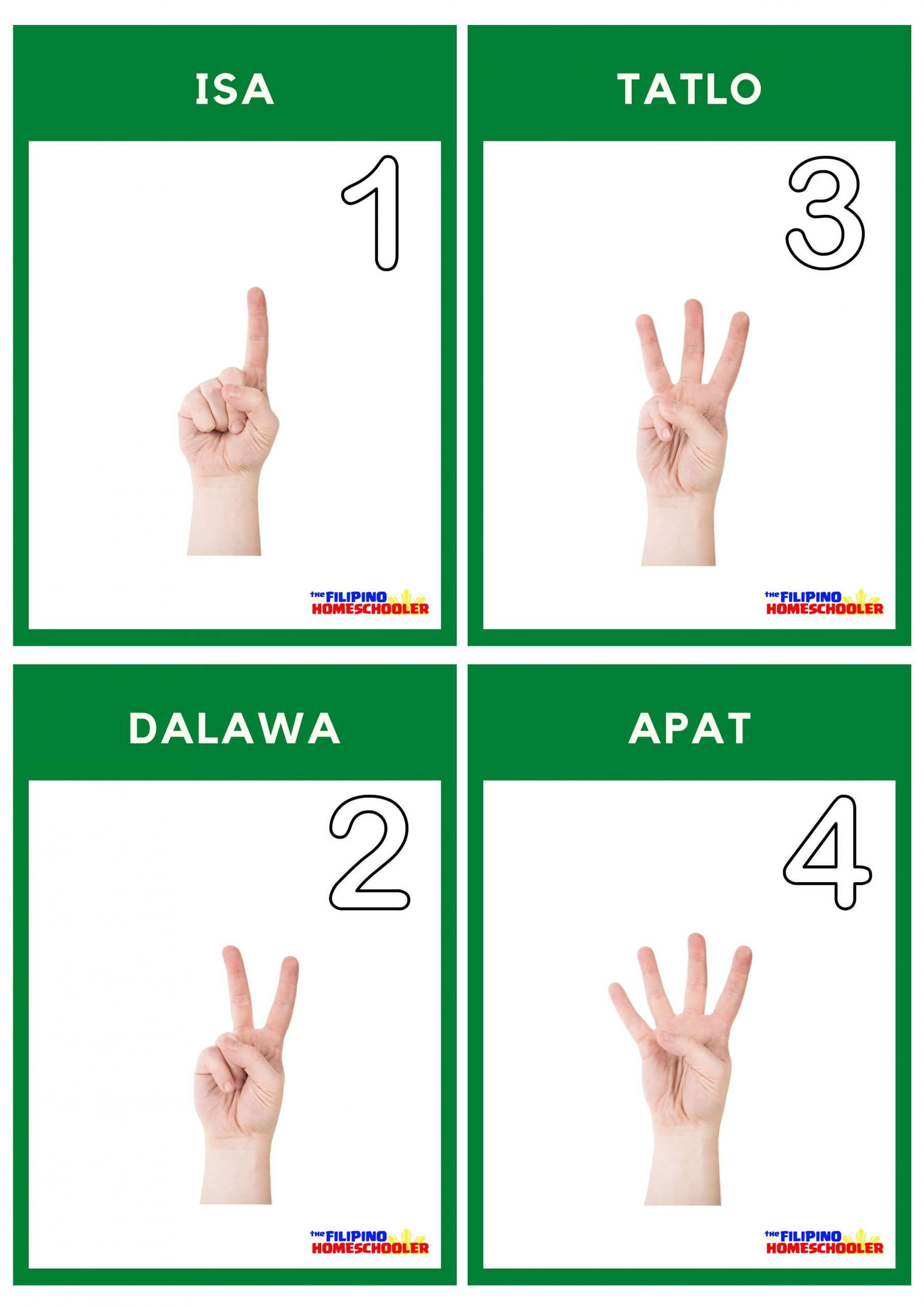 Free Filipino Counting Flashcards In