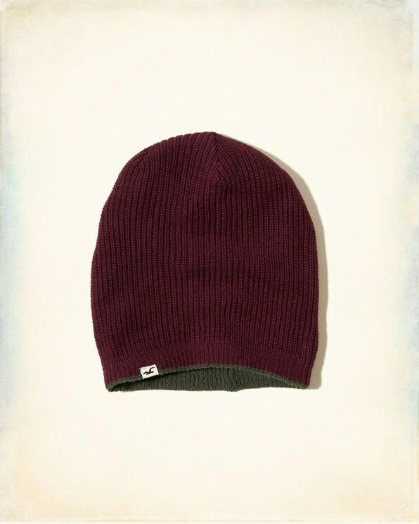 Olive green and Burgundy reversible beanie from Hollister