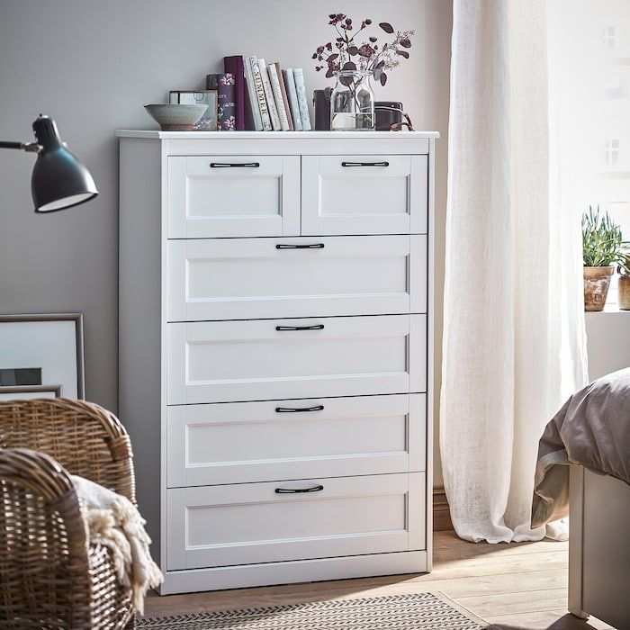 SONGESAND Chest of 6 drawers - white 82x126 cm in 2020 | White bedroom furniture, Tall dresser ...