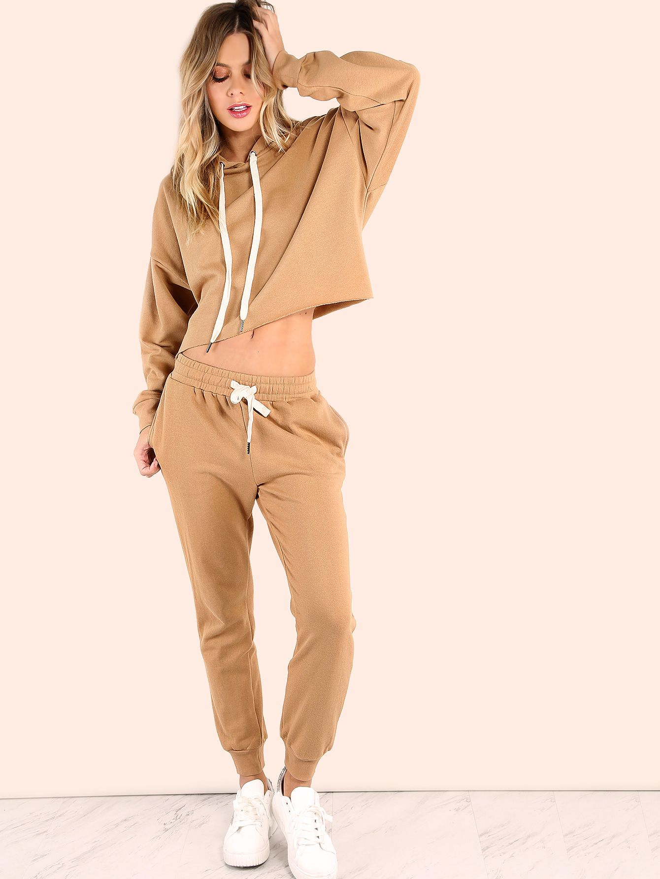 80c589ad8069 Shop Cropped Batwing Sweatpants Matching Set CAMEL online. SheIn offers  Cropped Batwing Sweatpants Matching Set CAMEL & more to fit your  fashionable needs.