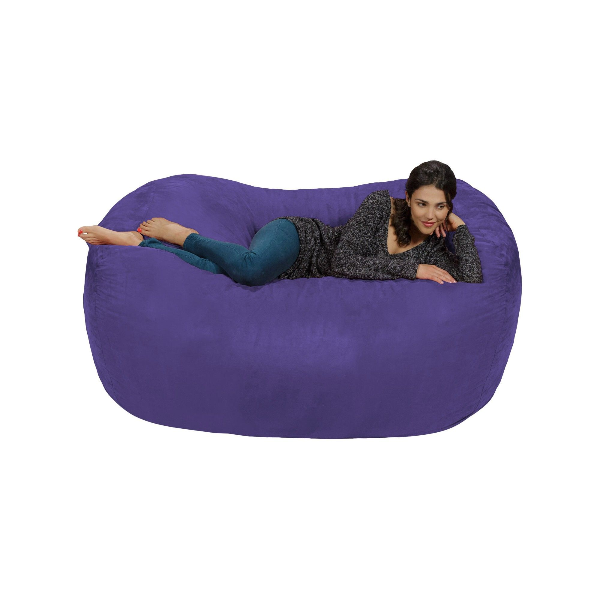 Surprising 6Ft Microsuede Lounger Violet Relax Sacks Purple Theyellowbook Wood Chair Design Ideas Theyellowbookinfo