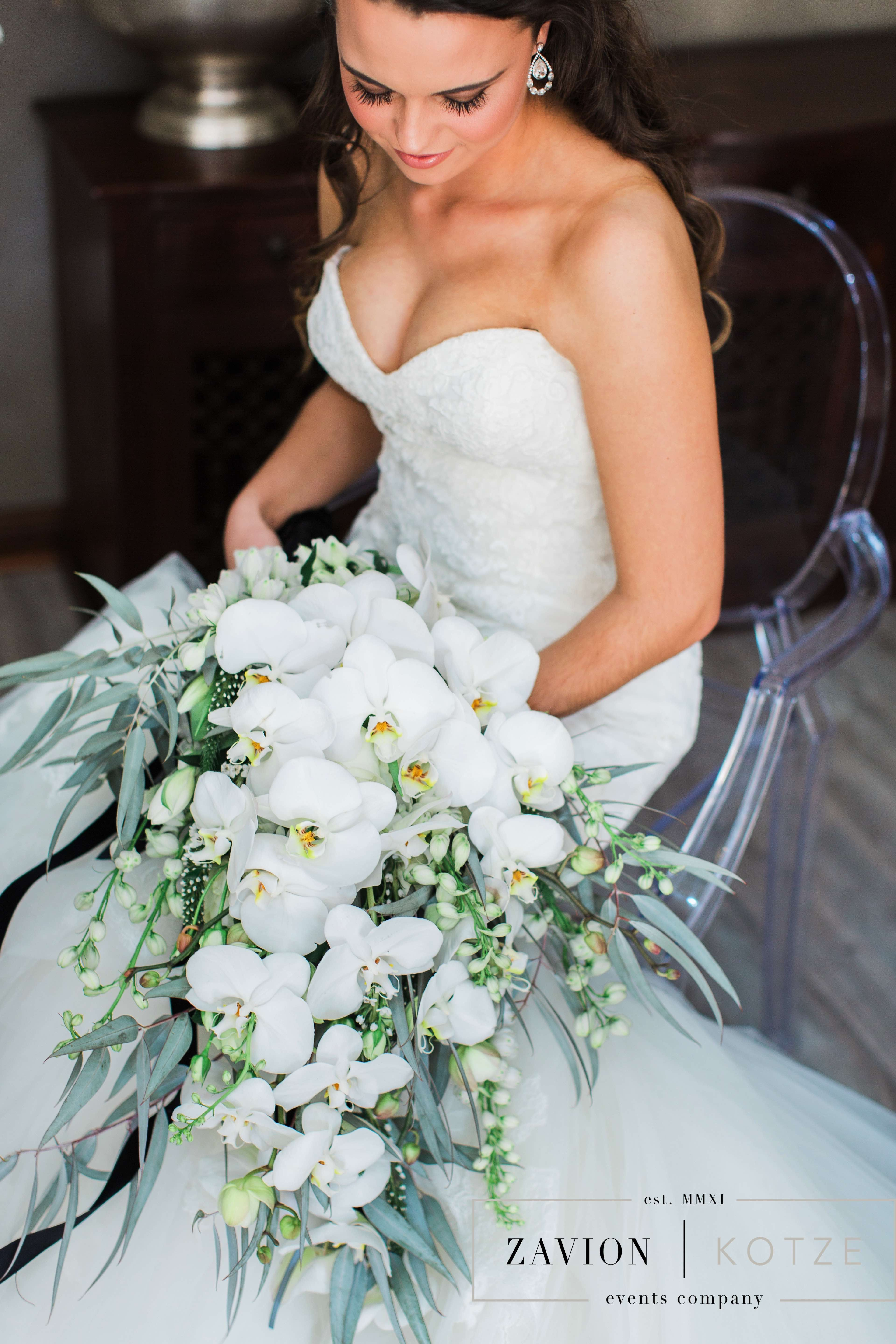 Elegant Bridal Bouquet White Orchid Bouquet Soft Green And White