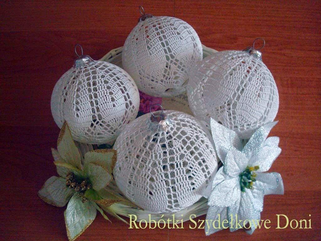 Robotki Szydelkowe Doni Biale Szydelkowe Bombki Christmas Crochet Crochet Ball Crochet Goodies