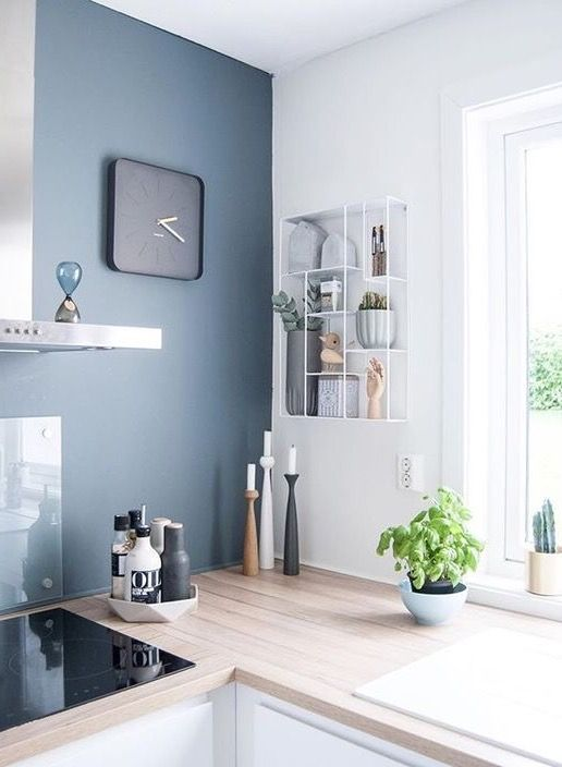 Kitchen - blue feature wall | cuisine | Kitchen wall colors, Small ...